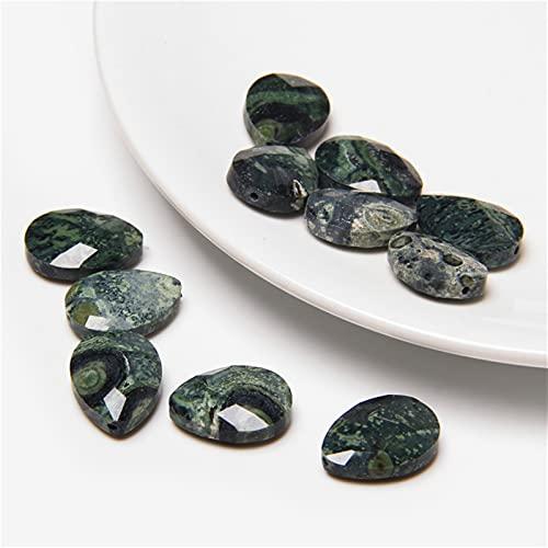 YSJJNDH Piedras de Chakra de 5 UNIDS Facetó Facetó Cristal Natural DE Piedra DE Agua Oval Gotas FAMILLA Forma Charm Beads para la joyería Que Hace Collar Accesorios para Pendientes 13 * 18mm
