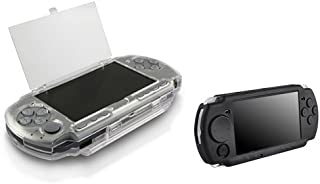 Everydaysource 2 Pack Case Compatible With Sony PSP 2000 3000 - Clear Clip On Crystal Hard Case + Black Soft Silicone Skin Case