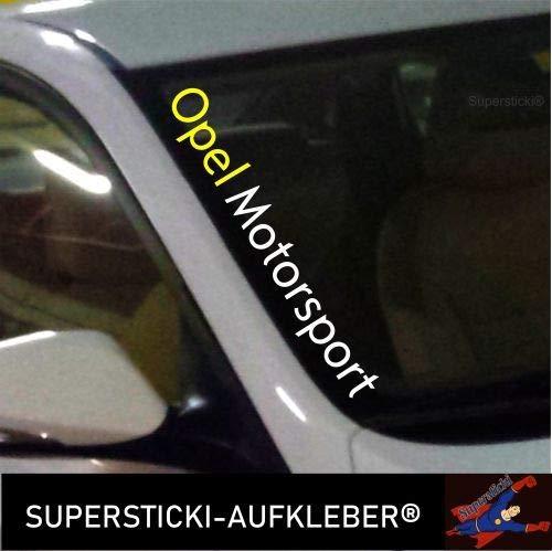 SUPERSTICKI®Winschutzscheibe Aufkleber ca.55cm Opel Motorsport 2 Farbig Autoaufkleber Tuning Decal A644 aus Hochleistungsfolie Aufkleber Autoaufkleber Tuningaufkleber Hochleistungs