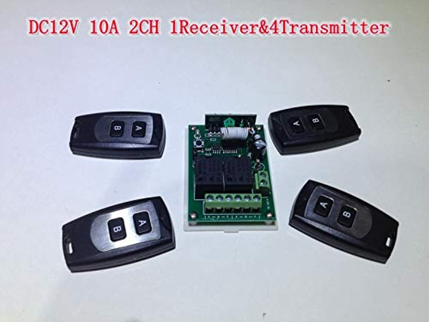 2 Channel RF Wireless Remote Control Switch DC 12V 10A Receiver with 4 pcs 2Button Transmitters