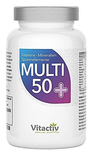 MULTI 50 plus, Vitamine, Mineralstoffe und Spurenelemente, perfekt abgestimmt für Menschen ab 50 Jahren, hochdosiertes Vitamin B, C, E, K und D in nur einer Kapsel (60 Kapseln)