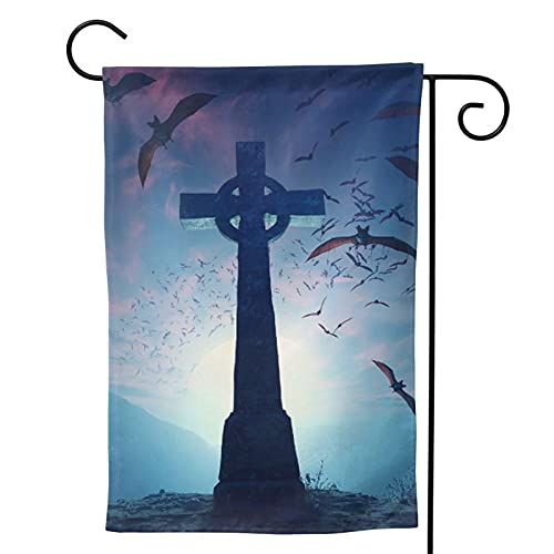 goincrond Celtic Cross with Swarm of Bats Garden Flag - Double Sided Vertical Decoration Garden Flags, Summer Home Yard Outdoor Flag 12.5 X 18 Inch