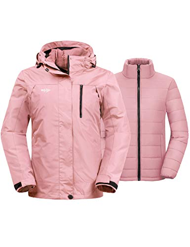 Wantdo Women's 3-in-1 Skiing Jacket Insulated Winter Snow Coat Detachable Winter Puffer Coats Coral S