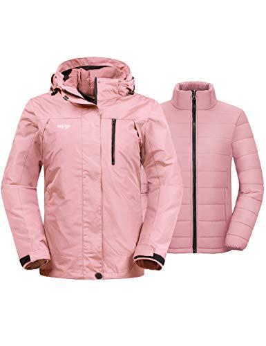 Wantdo Women's 3-in-1 Skiing Jacket Wind Block Snowboarding Jacket Snow Coats Raincoat Coral L