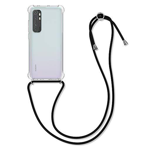 kwmobile Necklace Hülle kompatibel mit Xiaomi Mi Note 10 Lite - Hülle Silikon mit Handykette - Band Handyhülle Schwarz Transparent