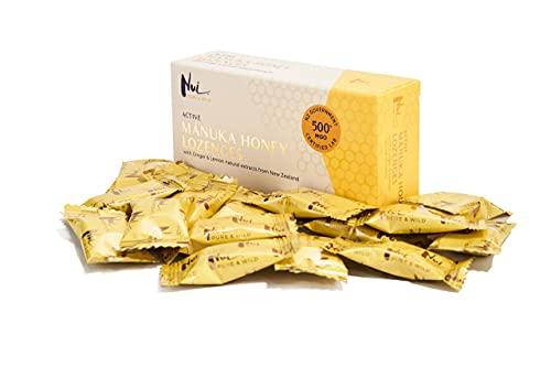 Caramelle al Miele di Manuka attivo NUI MGO 500+ (UMF 15+) con estratti naturali di zenzero e...