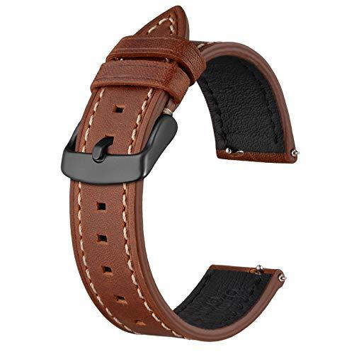 BISONSTRAP Correas de Reloj de Cuero, Correa de Repuesto de Liberación Rápida para Hombres y Mujeres, 18mm 19mm 20mm 21mm 22mm