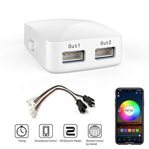 Wifi Smart Controller für WS2811/WS2812 LED Streifen/Strip, 16 Mio Farben, Kompatibel mit Alexa und Google Home, 20 Dynamische Modi, Wecker Musik & Mic Innenbeleuchtung