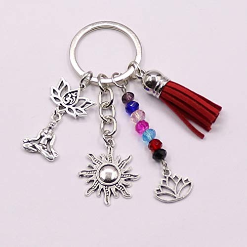 MENGYUE Keychain;1Pcs Rainbow Symbol Keyring Silver Keychain 7 Chakras Yoga Key Chain Energy Sun Charms Lotus Ohm Jewelry