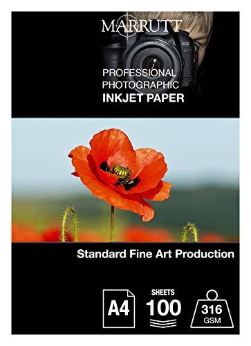 Marrutt - Papel fotográfico de inyección de tinta (316 g/m², tamaño A4, 100 hojas)