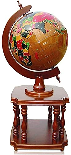 Globos Globo Mundial Globo 3D em relevo de madeira maciça Globo terrestre para piso geográfico educacional Globos de mesa do mundo com suporte