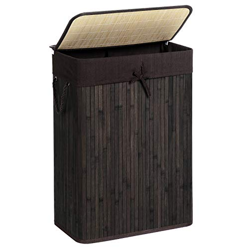 SONGMICS Laundry Hamper with Lid, Bamboo Laundry Basket with Liner Bag, Foldable Storage Hamper with Handles in Bedroom Closet Laundry, 72L, Brown ULCB10BR