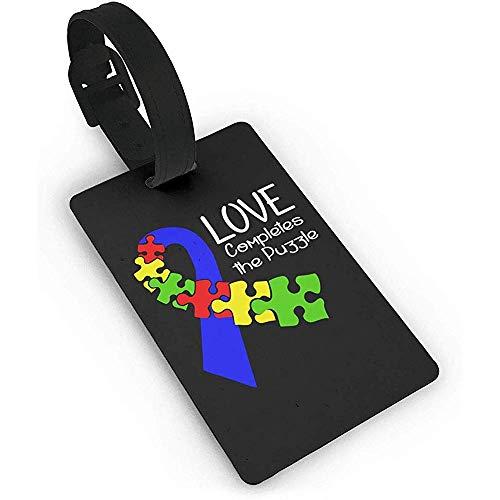Satz von 2, Puzzle Clipart Autismus, PVC-Gepäck, Kofferanhänger Name Adresse ID-Etikett Reisegepäckanhänger ID-Etiketten