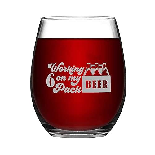 Working On My - Juego de 6 copas de vino sin tallo, 45 ml, regalo para hombres y mujeres, copa de vino transparente para vino tinto y blanco