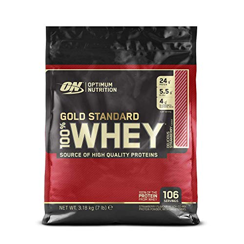 Optimum Nutrition Gold Standard Whey Protein Powder Muscle Building Supplements with Glutamine and Amino Acids, Delicious Strawberry, 106 Servings, 3.18 kg