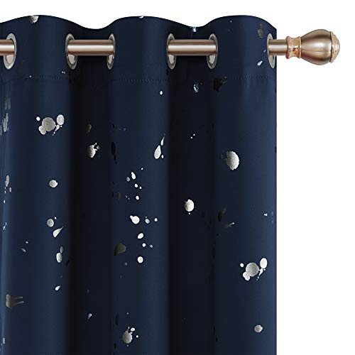 Deconovo Navy Blue Curtains 63 Inch Blackout Curtains Silver Dots Printed Grommet Top Thermal Insulated Room Darkening Window Drapes for Bathroom Window 38W x 63L Navy Blue Set of 2 Panels