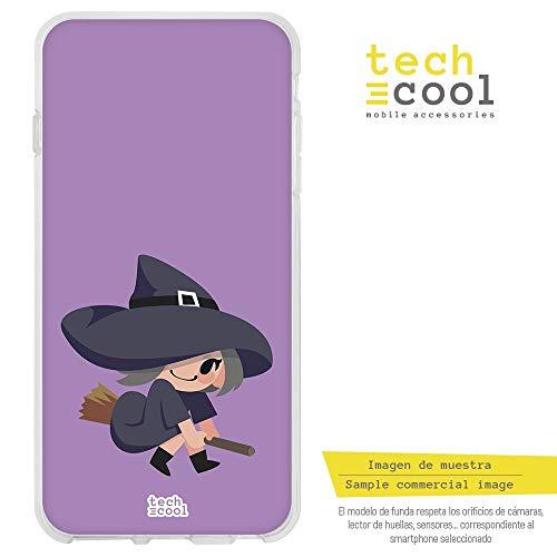 Funnytech® Funda Silicona para LG G5 [Gel Silicona Flexible, Diseño Exclusivo] Dibujo Bruja Fondo Morado