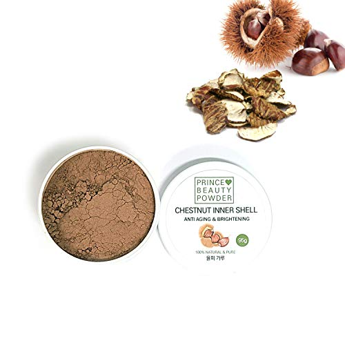 [Korean Herbal Beauty Powder] Prince Natural Beauty CHESTNUT INNER SHELL Powder for facial mask (3.35oz / 95g) with 100% Cotton Facial Gauze Mask (10 sheets) 율피 팩 가루