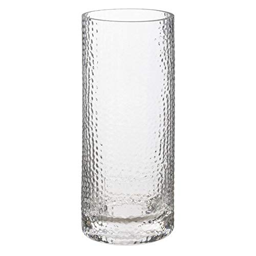 Paris Prix Atmosphera Créateur dintérieur - Vase Cylindrique en Verre Martelé 25cm Transparent