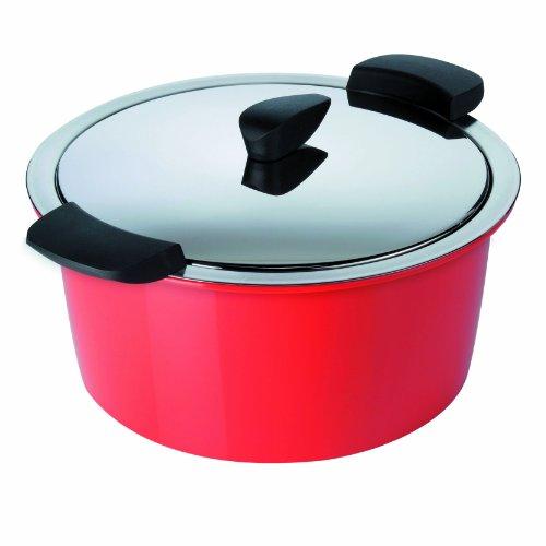 KUHN RIKON 30712 ustensile de cuisine thermique HOTPAN cocotte à servir rouge 3L/22cm, cuisson à la vapeur, maintien au chaud, économie d'énergie