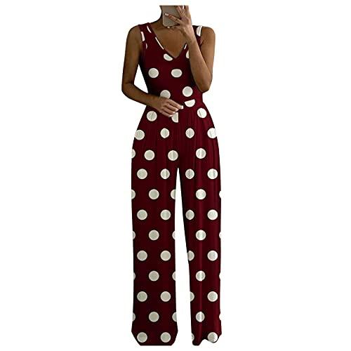BIBOKAOKE Mono largo para mujer, elegante, sexy, con un hombro, pierna ancha, pantalón de peto para mujer, estilo retro, pantalones largos de verano con pierna recta