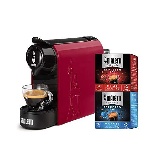 Bialetti Gioia, Macchina da Caffè Espresso per Capsule in Alluminio sistema Bialetti il Caffè d'Italia, Supercompatta, Rosso + 32 CAPSULE