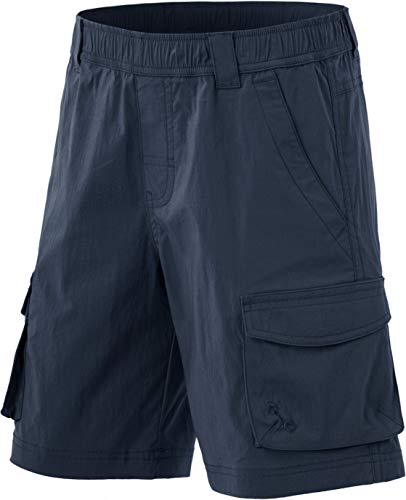 CQR Kids Youth Pull on Cargo Shorts, Outdoor Camping Hiking Shorts, Lightweight Elastic Waist Athletic Short with Pockets, Driflex Shorts(bxs416) - Navy, Medium_10-12