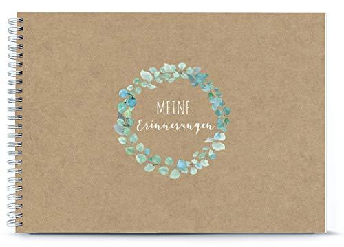 DIN A4 Babyalbum Fotoalbum • Meine Erinnerungen • Spiralbindung echtes Kraftpapier mit Eukalyptus Kranz • Zur Geburt oder Hochzeit als Geschenk DESIGN BY fioniony®