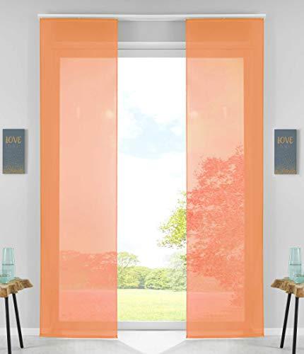 2er Set Schiebegardinen Flächenvorhänge Vorhang Gardine Schiebe HxB 245x60 cm Orange Komplett mit Paneelwagen Beschwerungsstange, 85589N2