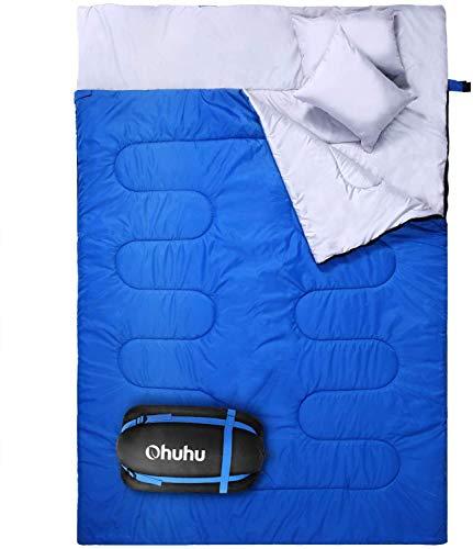 Doppelschlafsack, Ohuhu Schlafsack 220 x 150cm Erwachsene Deckenschlafsack mit 2 Gratis Kissen und eine Tragetasche, Vier Doppel Zippern, Angenehme Temperatur für Outdoor, Camping (Blau)