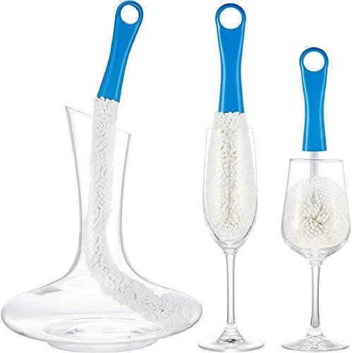 SITAILI Juego de 3 cepillos de limpieza para decantador de vino, herramientas de limpieza suave para botellas y copas de champán, copas de cerveza