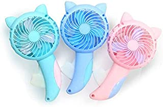 Portable Handheld Fan Household No Battery Mini Fan Electric Fan Usb Pocket Fans Coloured Manual Handpress Portable Cartoon Fans Cooling Desk fan (Color : Light blue)