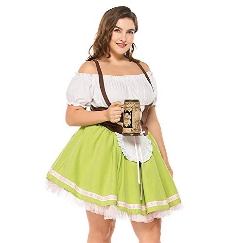 NEEKY Damen Oktoberfest große Größe Magd Kostüm Kleid FaschingskostüMe(XXL,Grün)