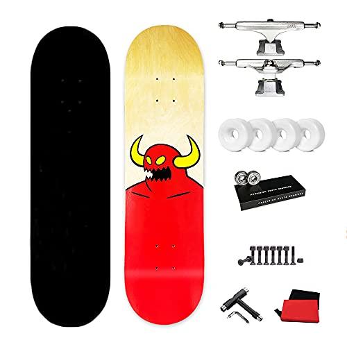 VOMI Skateboard 31'x8' Tabla Completa Patineta, monopatines de Doble Patada, Rodamientos ABEC-11, 7 Capas Madera de Arce, con T-Tool y Mochila, para niños, Adolescentes y Adultos Principiantes,A