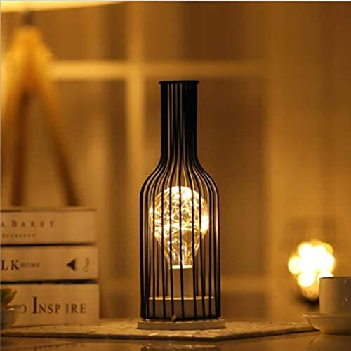 Lámpara de Mesa de Alambre de Metal Negro, Estilo Jaula de Hierro, Luz Nocturna, Funciona con Pilas, Lámpara de Mesita de Noche para Dormitorio (Botella de Vino Tinto)