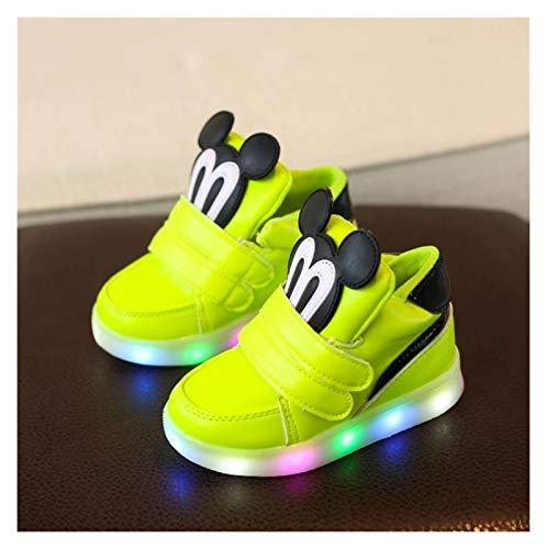 Youpin Zapatillas de deporte para niños con luz LED 2020, primavera, dibujos animados, ratón, zapatillas de deporte iluminadas (color: amarillo, talla de zapata: 25)