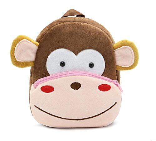 Cute Toddler Backpack Toddler Bag Plush Animal Cartoon Mini Travel Bag for Baby Girl Boy 1-6 Years (Monkey)