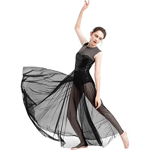 FYMNSI Damen Lyrisch Tanz Kleid Ärmellos Pailletten Schlitz Tüll Maxikleid Lyrische Modern Contemporary Tanzkostüm Trikot Latein Ballett Tüllkleider Ballettanzug Schwarz M