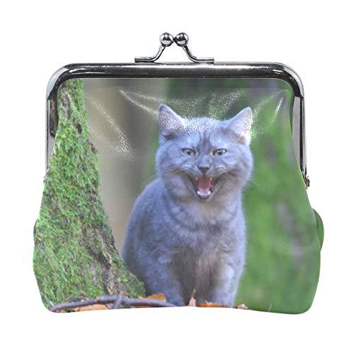 Damen Tier Katzen Kratzbaum Hasp Coin Geldbörse Verschluss Tasche für Frauen Mädchen Leder Geldbörse Geldbörse Schnalle