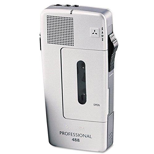 Philips Pocket Memo LFH0488 Analoges Mini-Kassetten Diktiergerät (Schiebeschalter, wählbare Mikrofonempfindlichkeit, autom. Aufnahmeaussteuerung, Sprachaktivierung, Briefende-Ton) silber