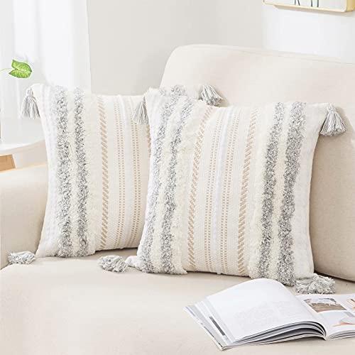 Juego de 2 fundas de cojín estilo bohemio decorativas, tejido tejido, para sofá, salón, cama, dormitorio, gris, 45 x 45 cm
