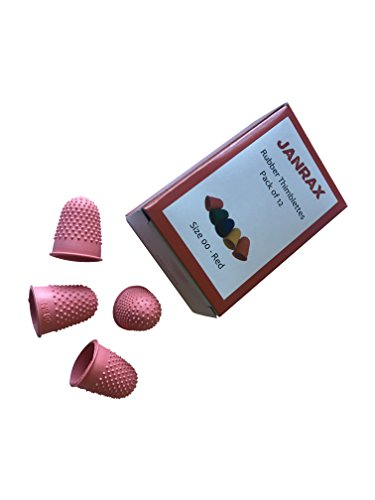 Paquete de 12 dedales de goma, extra pequeños, color rojo, número 00