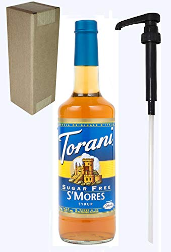 Torani Sugar Free S'Mores Flavoring Syrup, 750mL (25.4 Fl Oz) Glass Bottle, Individually Boxed, With Black Pump