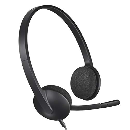 Logitech H340r Stereo Headset USB Connection Noise Cancelling Microphone Lightweight Headphones for Windows MAC, Chrome, Telework, Remote, Web Conference, Japanese Product, Black