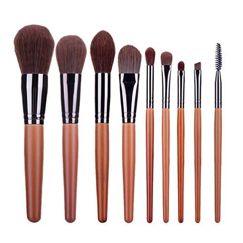 Minkissy Ensemble de Pinceaux de Maquillage Pinceau de Fond de Teint Fards à Paupières Pinceau Fard à Joues Pinceau Poudre Pinceaux de Maquillage Contour 9Pcs (Café)