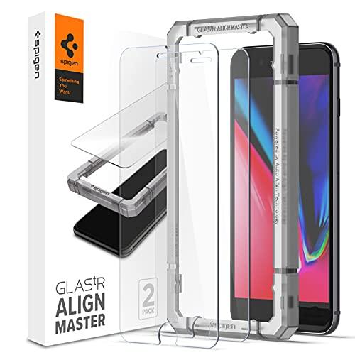 Spigen AlignMaster Vetro Temperato Compatibile con iPhone 8 Plus, iPhone 7 Plus, 2 Pezzi, Installazione Semplice con Cornice di Allineamento, Custodia Compatibile, 9H Protezione Schermo