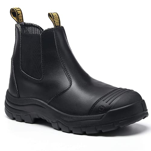 diig Work Boots for Men, Soft Toe Waterproof Working Boots, Slip Resistant, Anti-Static Slip-on Safety Working Shoes 6 8 9 10 11 12 13 (LV812NT, 10.5-BLK)