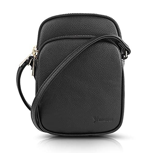 N\C Damen Schultertasche PU Leder Handtaschen Handy Umhängetasche Frauen Brieftasche Geldbörse mit Verstellbar Abnehmbar Schultergurt (Schwarz)
