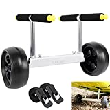 LOKNZI T-Shaped Width Adjustable Kayak cart with Flat-Free Wheels & Metal Buckle Strap for Kayaks and Canoes,High Pressure Capacity