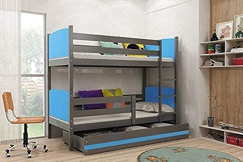 Etagenbett Max mit Bettkasten - Grau Größe Liegefl e 190 x 80cm  , Farbe BA = blau